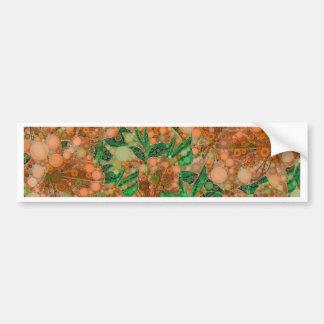 Orange Peach Green Flower Abstract Bumper Sticker