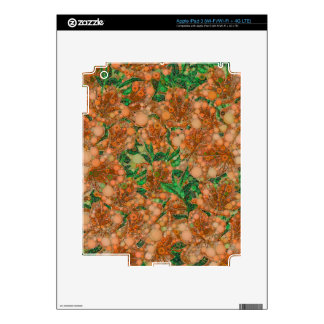 Orange Peach Green Flower Abstract iPad 3 Skin