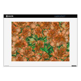 Orange Peach Green Flower Abstract Skin For Laptop