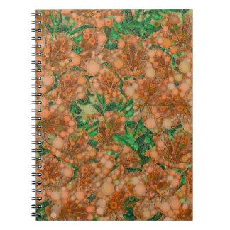 Orange Peach Green Flower Abstract Spiral Notebook