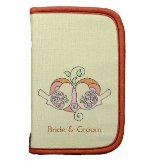 Orange Peach Green Ivory Bird Floral Heart Wedding rickshawfolio