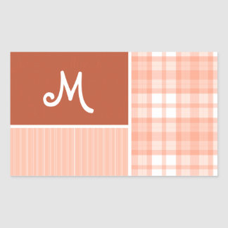 Orange, Peach Plaid Rectangular Sticker