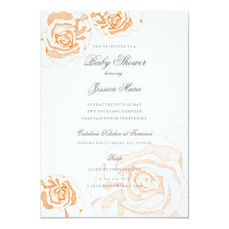 Orange Peach Roses Floral Baby Shower Invitations