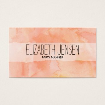 Professional Business Orange Peach Watercolor Businesscard Business Card
