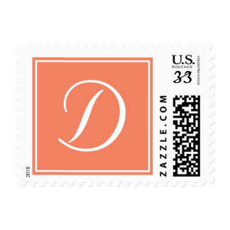 Orange Peach White Script Monogram D Postage