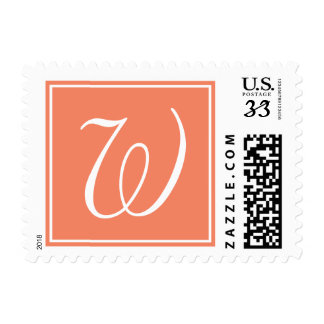 Orange Peach White Script Monogram W Postage