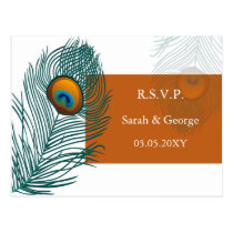 orange peacock wedding  rsvp postcard