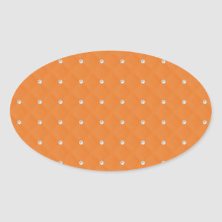 Orange Pearl Stud Quilted Oval Sticker