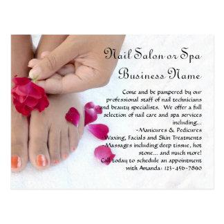 Orange Pedicure, Pink Rose, Nail Salon Postcards