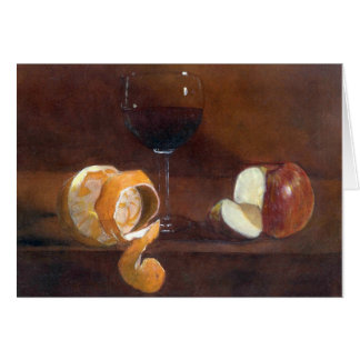 Orange Peel, Apple and a Glass of Red Wine Card