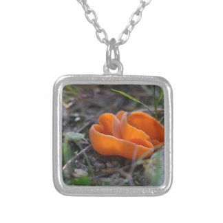 Orange peel fungus, Aleuria aurantia Silver Plated Necklace