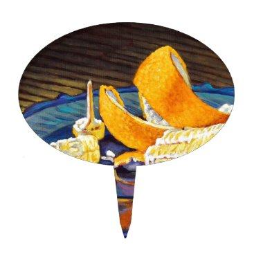 Beach Themed Orange Peel Swirl Cake Topper