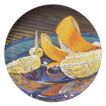 Beach Themed Orange Peel Swirl Dinner Plate