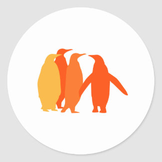 Orange Penguins Round Sticker