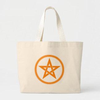 orange pentacle large tote bag