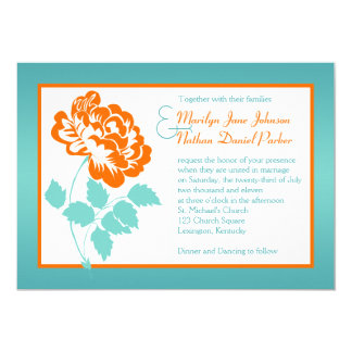 Orange Peony On Turquoise Wedding Invite