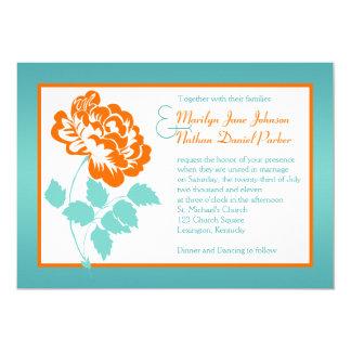 Orange Peony on Turquoise Wedding Invite