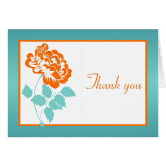 Orange Peony on White and Turquoise Thank You Card Greeting Cards