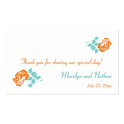 This orange and turquoise floral wedding favor tag matches the items shown