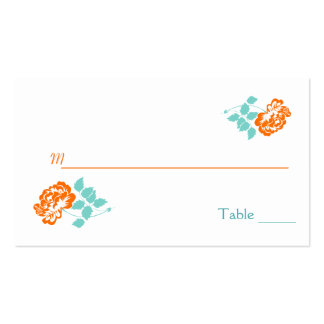 Orange Peony on White with Turquoise Placecards Business Card