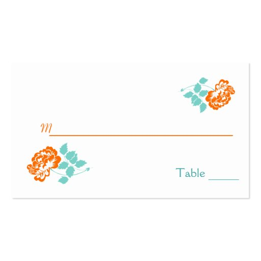 Orange Peony on White with Turquoise Placecards Business Card Template