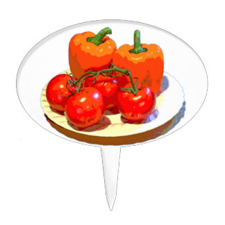 ORANGE PEPPERS, RED TOMATOES CAKE TOPPER