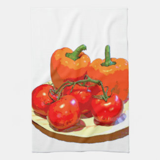 ORANGE PEPPERS, RED TOMATOES KITCHEN TOWEL