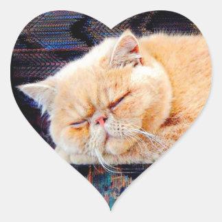 Orange Persian Cat Heart Sticker