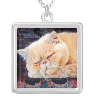 Orange Persian Cat Square Pendant Necklace