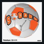"""Orange Personalize Soccer Ball Wall Decal<br><div class=""""desc"""">Soccer Ball Wall Decal. Personalize it! Made with high resolution vector and/or digital graphics for a professional print. NOTE: (THIS IS A PRINT. All zazzle product designs are &quot;prints&quot; unless otherwise stated under &quot;About This Product&quot; area) The design will be printed EXACTLY like you see it on the screen and...</div>"""