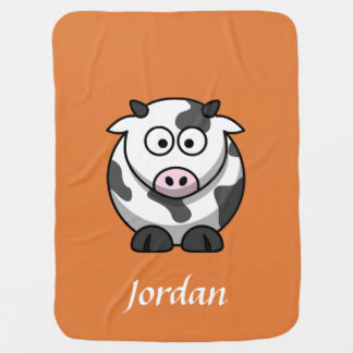 Orange Personalized Cow Blanket