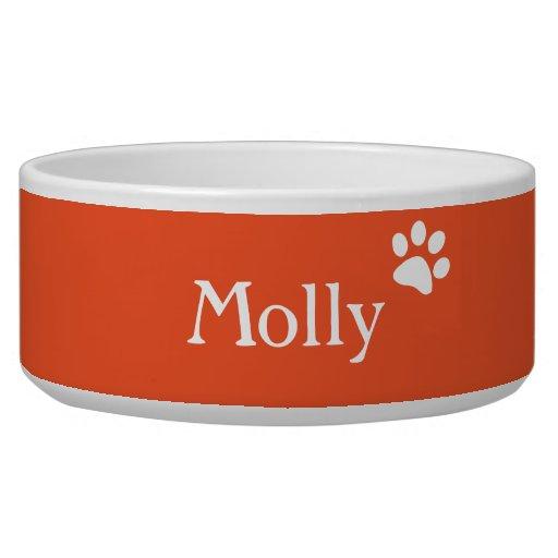Orange    Personalized Dog Dish Dog Bowls