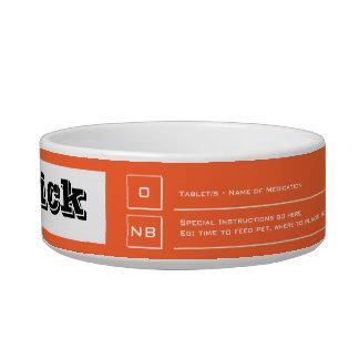 Orange pet feeding medication guide bowl