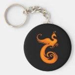 Orange Phoenix Basic Round Button Keychain