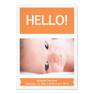 Orange Photo Baby Birth Announcement