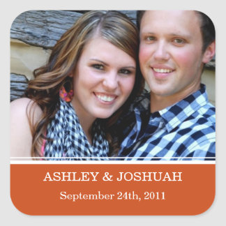 Orange Photo Save The Date Stickers