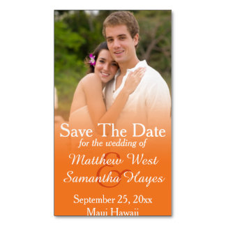 Orange Photo Wedding Save The Date Magnetic Business Cards (Pack Of 25)