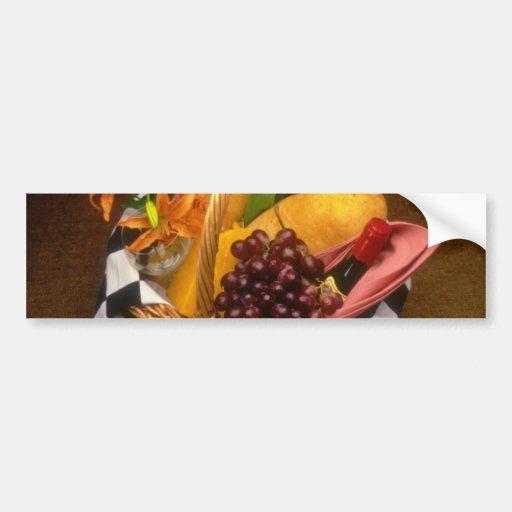 Orange Picnic basket with wine, cheese, bread and Car Bumper Sticker