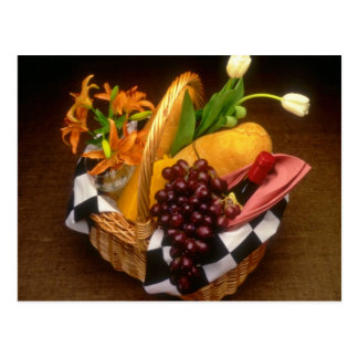 Orange Picnic basket with wine, cheese, bread and Postcard