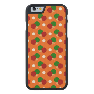 Orange ping pong pattern carved maple iPhone 6 case