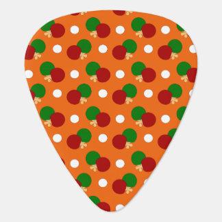 Orange ping pong pattern guitar pick