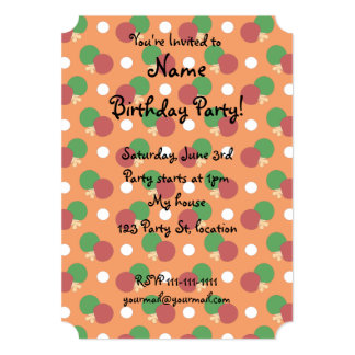 Orange ping pong pattern personalized invites