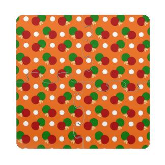 Orange ping pong pattern puzzle coaster