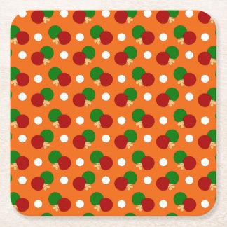 Orange ping pong pattern square paper coaster