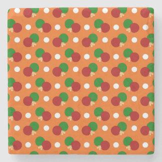 Orange ping pong pattern stone coaster