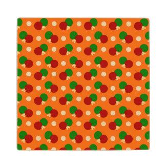 Orange ping pong pattern wood coaster