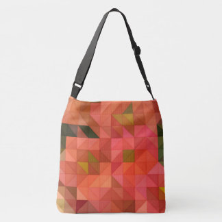 Orange Pink and Green Triangles Geometric Design Crossbody Bag