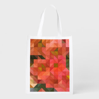 Orange Pink and Green Triangles Geometric Design Market Totes