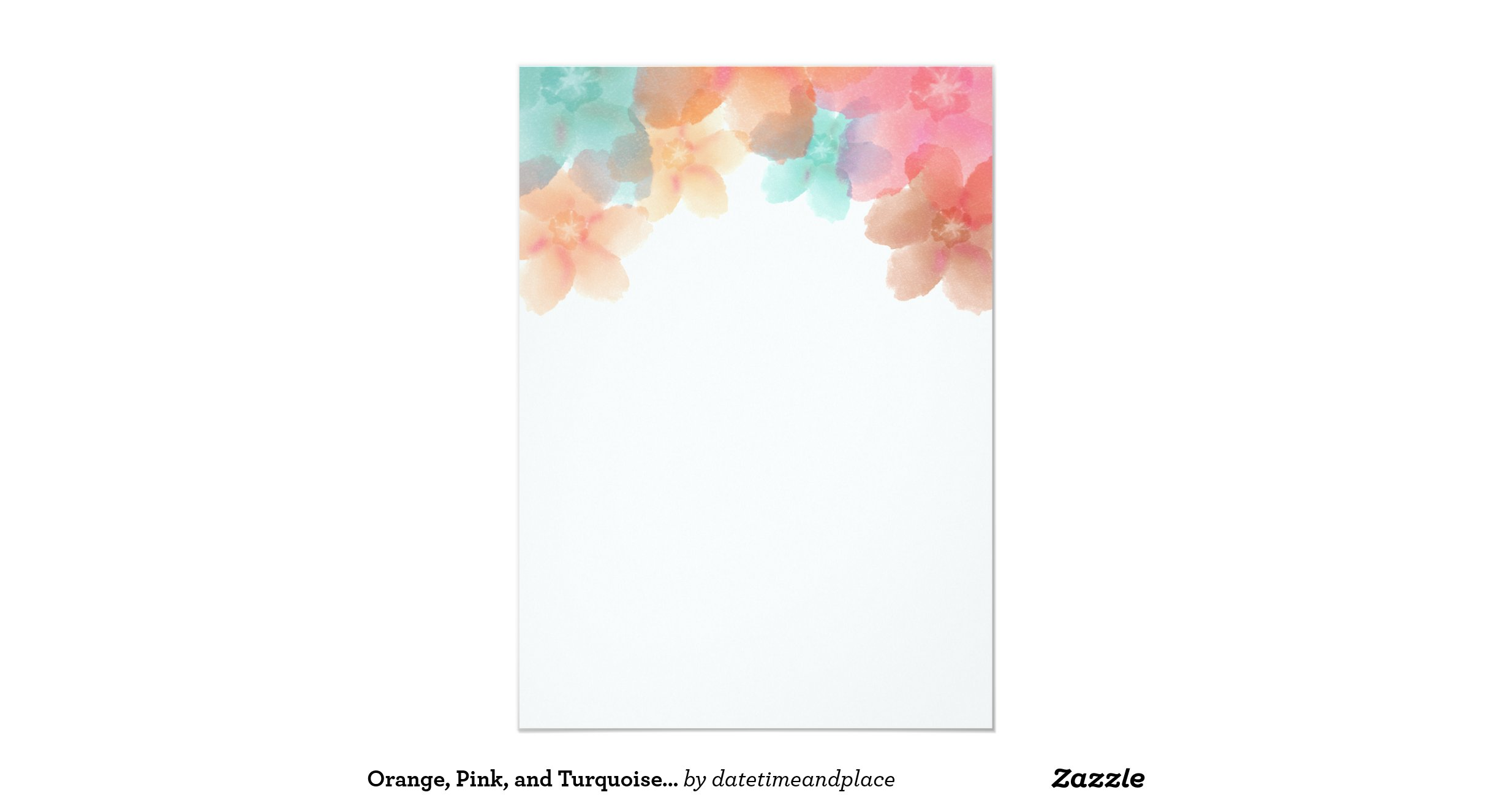 Orange Pink And Turquoise Floral Wedding Ii Invitation