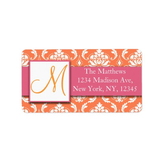 Orange Pink and White Damask Avery Address Labels